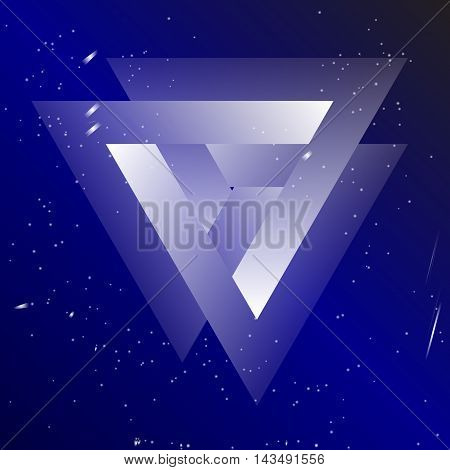 Sacral geometry of Borromean rings. Valknut, slain warriors. Symbol consisting of three interlocked triangles on cosmic background. Magic symbol, mystical illustration.