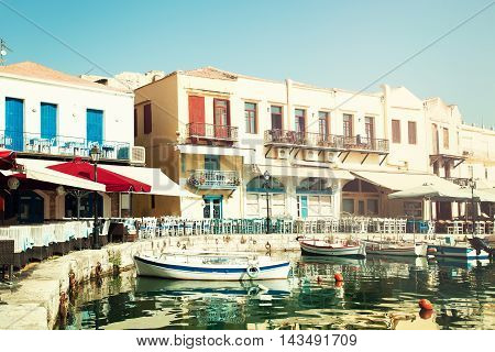 Greece. Crete Rethymnon Boats Sea and Restaurant. Impression of Greece