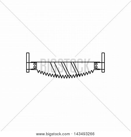 Two man saw with wooden handle icon in outline style isolated on white background