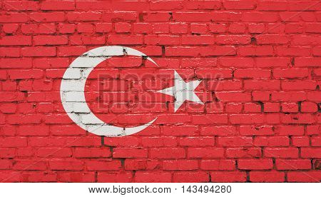 Turkey flag on brick wall. Abstract background