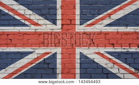 Great Britain flag brick wall background. Abstract background