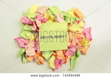 are you ready word written on sticky notes.