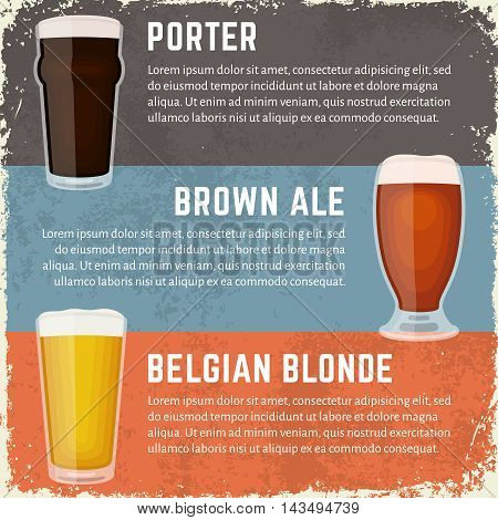 Vector illustration of craft beer styles. Glasses of porter, brown ale and belgian blonde. Different craft beer varieties. Vintage craft beer banners in dirty grunge style.