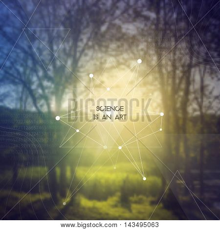 Science is an art. Scientific design template with copy space. Hipster triangles and molecule structure on blur photo background. Vector design for music albums, posters, flyers, web design and mobile application.