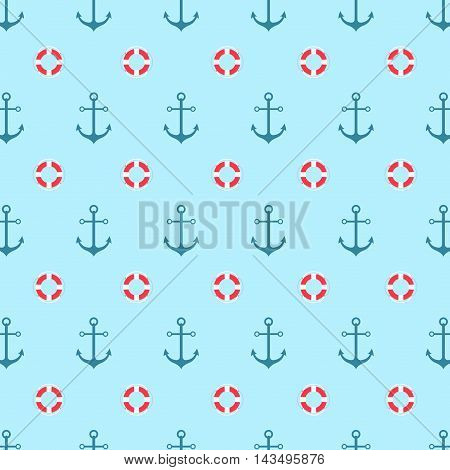 Seamless pattern with a lifeline and anchor. Bright sea background. Vector pattern.