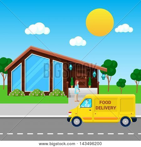 Food Delivery Service Truck Brought Order to the Customer. Vector illustration
