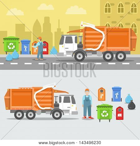 Garbage Recycling Set with Truck and Containers. Vector illustration