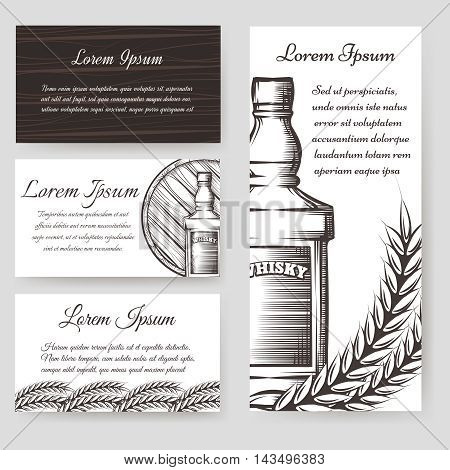 Whisky bouqlet and cards templates set. Vector illustration