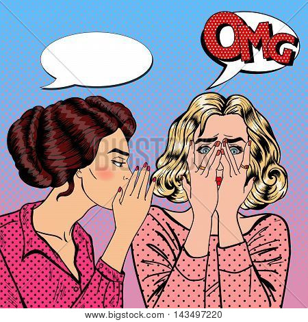 Young Woman Whispering Secret to her Friend. Pop Art Vector illustration