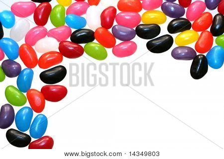 A border of colorful jelly beans, isolated on white.
