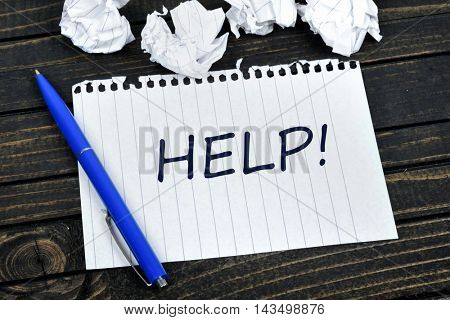 Help text on notepad and crippled paper