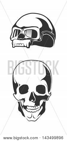 vector illustration of human skull. motorcycle helmet for bikers. Monochrome pictures isolate on white background.