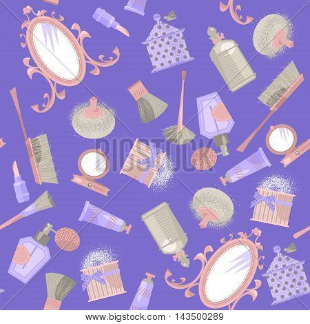 Mirror and cosmetics. Retro style. Art deco. Seamless background pattern. Vector illustration