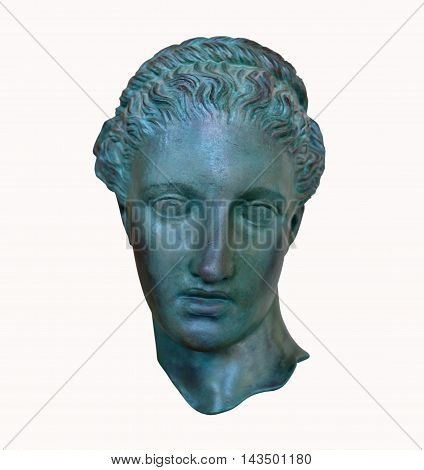 Greek poet Head of Sappho statue isolated roman replica