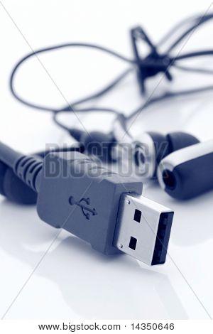 USB cabo e celular-kit mãos livres, em duotone azul.
