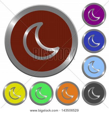 Set of color glossy coin-like moon shape buttons