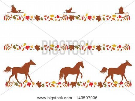 set of vector autumnal borders with foliage horses and cranes
