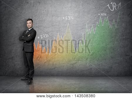Full portrait of a young businessman with his arms crossed on a background of an increasing graph. Business presentation. Financial chart. Succesful management.