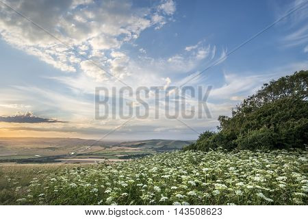 Beautiful Peaceful Sunset Landscape Image Over English Rolling Countryside