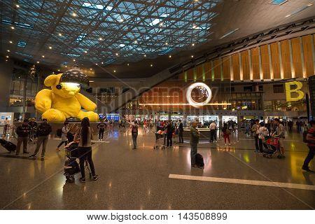 Doha, Qatar - June 9, 2016: Interior Of Hamad International Airport In Doha, Qatar. Base Airport Are