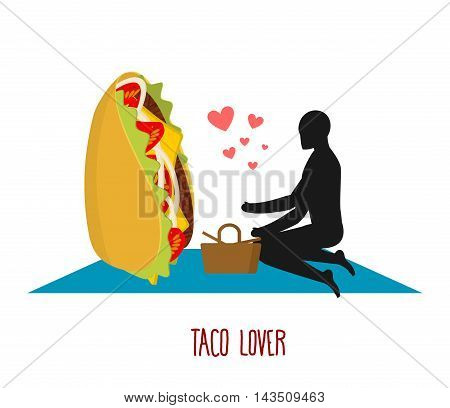 Taco Lover. Mexican Food At Picnic. Rendezvous In Park. Fastfood And People. Rural Jaunt In Love Wit