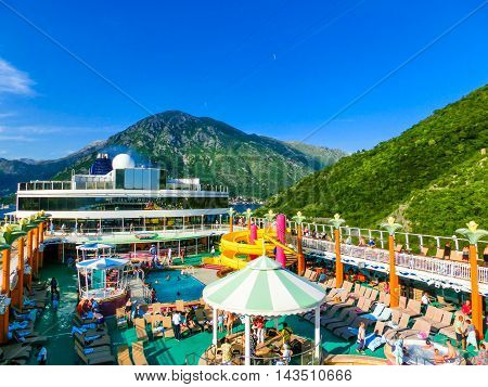 Kotor, Montenegro - May 07, 2014: The upper deck of cruise Ship Norwegian Jade by NCL