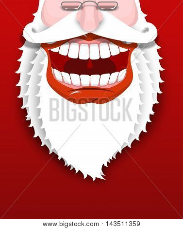 Jolly Santa Claus. Joyful Grandfather With White Beard. Broad Smile. Big Red Lips And White Teeth. I