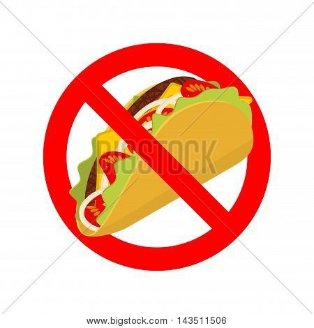 Ban Taco. Prohibited Acute Mexican Food. Crossed-out Fast Food. Emblem Against. Red Prohibition Sign