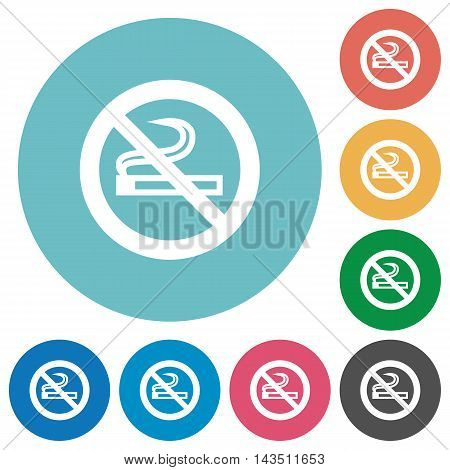Flat no smoking icon set on round color background.