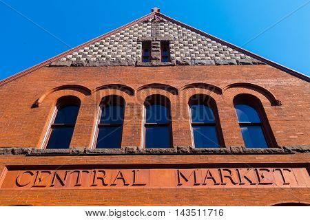 Lancaster PA - August 20 2016: Lancaster City Central Market is located in downtown within the City of Lancaster. The historic building is used weekly as a farmers market.