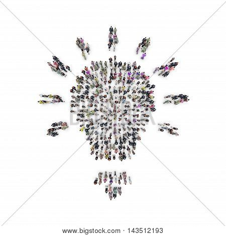 Aerial view of men and women that are grouping in light bulb shape. 3D Rendering