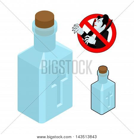 Holy Water Bottle Against Vampires. Ban Dracula. Anti Vampire Tool. Destruction And Extermination Of