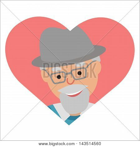 Vector drawing of icon elderly man in the heart