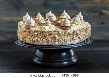 Cake Of Meringue With Peanuts.