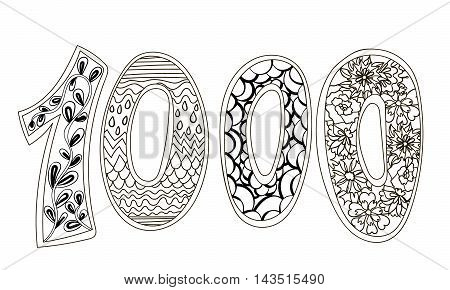 Zentangle number 1000. Zendoodle numbers with zentangle elements. Illustration can be used for web design, booklets, print cards, textile t-shirts, print elements and other. Vector