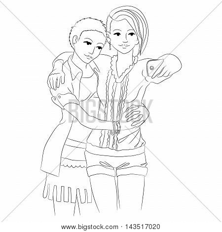 Two cute girls in love embracing and taking selfie. Women hug and take photos. Template for coloring page for grown ups. Vector illustration.