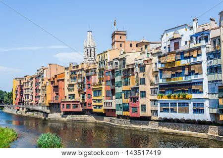 Onyar River Crossing The Downtown Of Girona. Spain