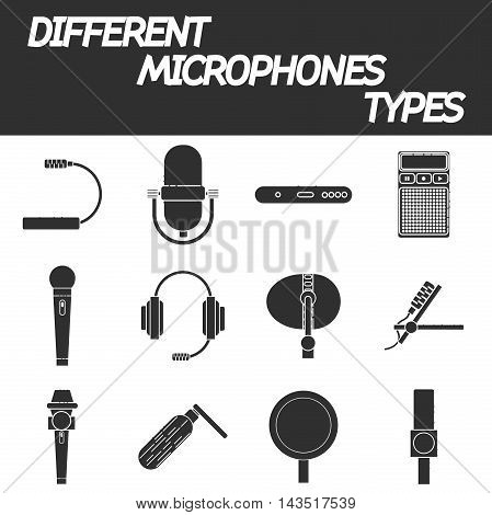 Different microphones types vector icons. Journalist microphone, interview, music studio. Web broadcasting microphone, vocal tool, tv show microphone.