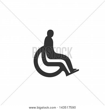 Disabled logo silhouette design template isolated on a white background. Simple concept icon for web, mobile and infographics. Abstract symbol, sign, pictogram, illustration - stock vector
