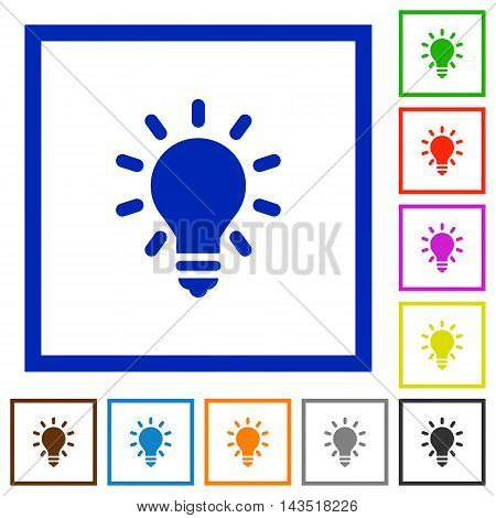 Set of color square framed lighting bulb flat icons
