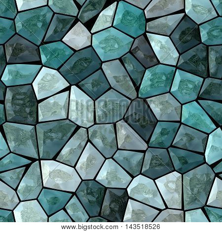 blue and turquoise marble irregular plastic stony mosaic seamless pattern texture background with white grout