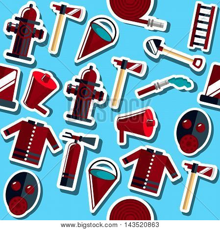 Color vector collage with firefighter equipment. Flat icon background. Helmet, helm, ax, hatchet, axe and other