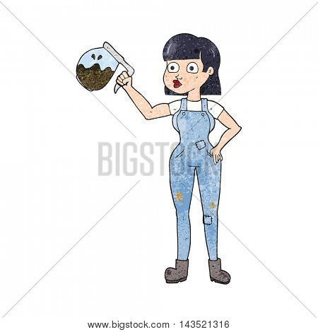 freehand textured cartoon woman in dungarees with coffee