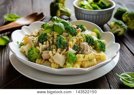 Pasta Salad With Chicken Meat, Broccoli, Cheese And Basil