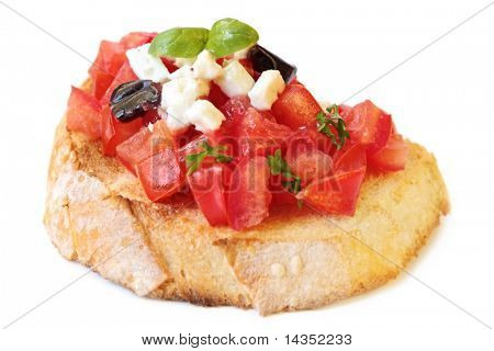 Bruschetta, with luscious diced tomatoes, goat's cheese, black olives and basil, on toasted bread.
