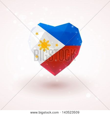 The flag of the Philippines in shape of diamond glass heart in triangulation style for info graphics, greeting card, celebration of Independence Day, printed materials