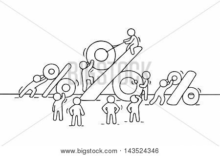 Sketch of working little people with big percent signs. Doodle cute miniature scene of workers and financial symbol. Hand drawn cartoon vector illustration for business design.