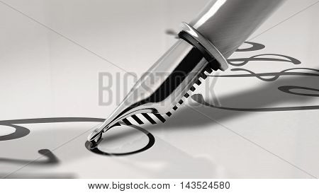 Close up view of a fountain pen writing cursive letter. 3D Rendering