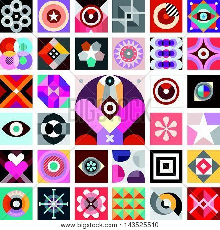 Composition of abstract geometric patterns. Vector background.