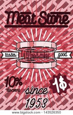 Meat store banner, charcuterie, deli shop, butchery market vector badge, label